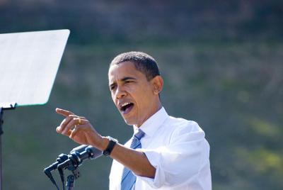 Barack Obama speaking in Asheville N.C. on October 5 2008.