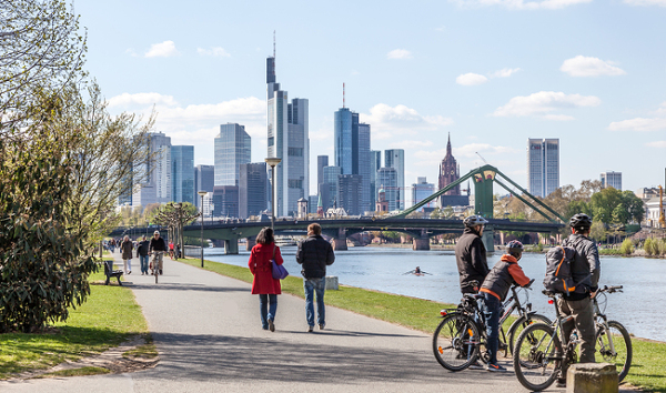 Frankfurt, Germany, has a strong sustainability score on both environmental and economic factors. Furthermore, the city aims to reduce its CO2 emissions by 10% every five years.